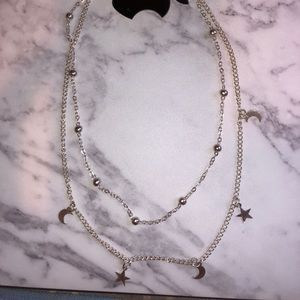 Silver Star/Moon Choker necklace